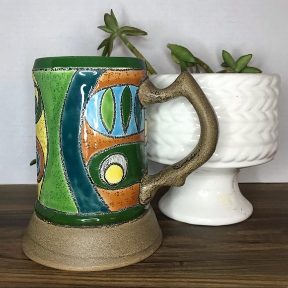 Vintage ceramic Artesa Hand painted mug beer stein